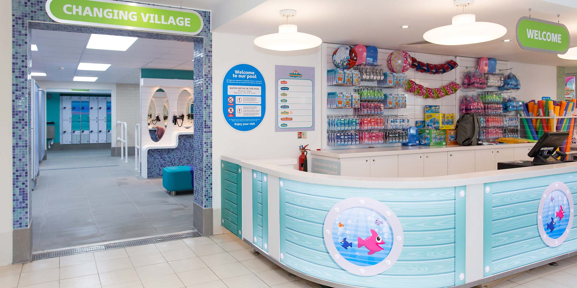 Reception counter for Splashaway Bay