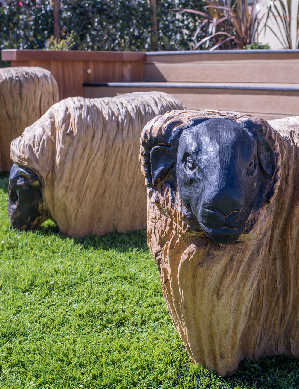 Sheep sculptures at Thornwick Bay